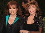 FILE - In this Feb. 22, 2009 file photo, actress Joan Collins, right, poses with her sister, author Jackie Collins at the Vanity Fair Oscar party in West Hollywood, Calif. Jackie Collins, died in Los Angeles on Saturday, Sept. 19, 2015, of breast cancer. She was 77. (AP Photo/Evan Agostini, File)
