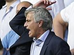Chelsea's football manager Jose Mourinho shouts across the pitch as Chelsea's Eden Hazard lies apparently injured following a foul during the English Premier League soccer match between Chelsea and Swansea City at Stamford Bridge, London, England.    (AP Photo/Tim Ireland)