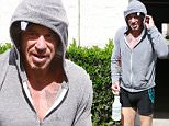 Please contact X17 before any use of these exclusive photos - x17@x17agency.com   Mickey Rourke leaving boxing practice wearing tight spandex shorts that leave little to the imagination  September 22, 2015 X17online.com EXCLUSIVE