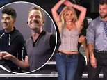 """23 September 2015 - Los Angeles - USA  **** STRICTLY NOT AVAILABLE FOR USA ***  Britney Spears pranks three bodyguards in hilarious sketch on Best Time Ever. The singer gamely agreed to do whatever Best Time Ever host Neikl Patrick Harris told her to do through a microphone hidden in her ear. She had to say whatever he told her to say and do what actions he and pal Joe Jonas told her to do. And Britney played her role perfectly as she 'interviewed' three potential bodyguards and got them to kiss her hand, juggled in front of them, introduced herself as: """"Hi, I'm Britney Bitch!"""" before getting them to try and keep her safe on stage while she was rehearsing with her dancers. Two of the bodyguards looked a little uncomfortable on stage but the third one jumped in and pretended to be one of her back-up dancers as Harris and Jonas roarer with laughter while watching everything on hidden cameras.   XPOSURE PHOTOS DOES NOT CLAIM ANY COPYRIGHT OR LICENSE IN THE ATTACHED MATERIAL. ANY DOWNLOAD"""