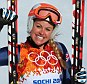 Happy to finish: British skier Chemmy Alcott said it had become so hot on the slopes that athletes competing in the women's downhill were forced to stuff snow down their suits to cool down