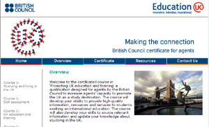 Screenshot of British Council - Agent training   promoting UK education