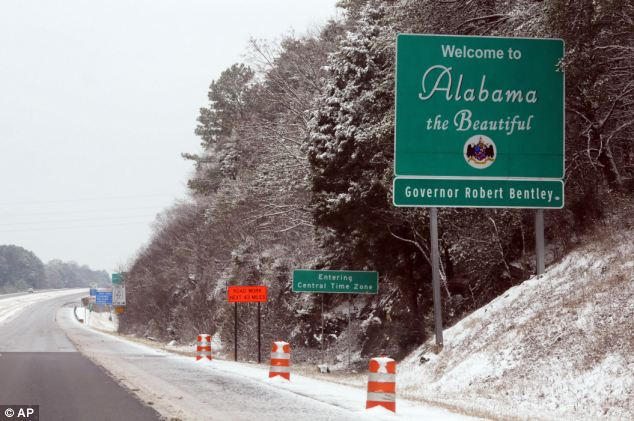 Eerie: Interstate 59 was clear for travel Tuesday morning near Trenton, Georgia - but no cars were in sight