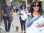 EXCLUSIVE TO INF.\nSeptember 23, 2015: Alec Baldwin and Hilaria Baldwin take baby Rafael Baldwin along as they get a morning coffee and walk their dogs in New York City.\nMandatory Credit: M. Nelson/INFphoto.com Ref: infusny-293