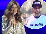 EXCLUSIVE. Coleman-Rayner. \nLas Vegas, NV, USA. September 12, 2015.\nCeline Dion pays tribute to her terminally ill husband/manager RenÈ AngÈlil during a concert at Caesars Palace Las Vegas Hotel and Casino. Ms Dion flashed unseen family photographs up on the big screen including one of husband Rene waving which received applause from Dion's fans. Pictured also are aerial photographs of the couples' Las Vegas home which is situated in a prestigious private golf course community. In a recent interview the French-Canadian songstress stated that her husband who is battling cancer 'hopes to die in her arms'. \nCREDIT LINE MUST READ: Anthony Taafe/Coleman-Rayner\nTel US (001) 310-4744343- office \nTel US (001) 323 5457584 - cell\nwww.coleman-rayner.com