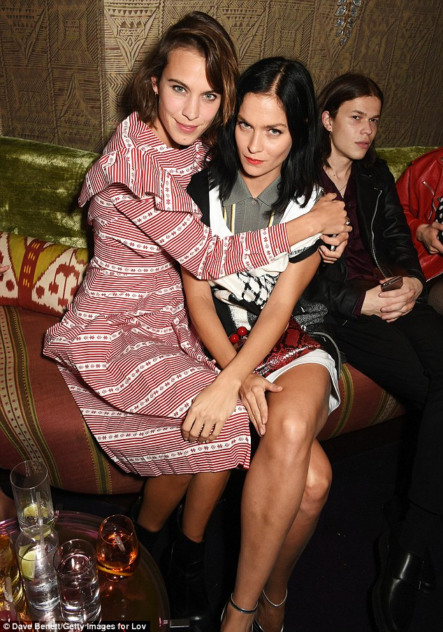 Party pals: Alexa Chung posed alongside her DJ pal Leigh Lezark (R) at the event