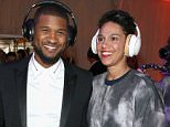 LOS ANGELES, CA - JANUARY 10: Recording artist Usher (L) and Grace Miguel, wearing Samsung Level headphones, attend the 8th Annual HEAVEN Gala presented by Art of Elysium and Samsung Galaxy at Hangar 8 on January 10, 2015 in Los Angeles, California.  (Photo by Jonathan Leibson/Getty Images for Samsung)