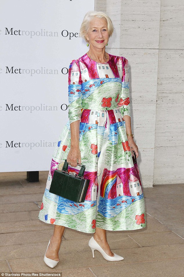 Cultural star: Helen Mirren turned up at the Metropolitan Opera's season opening night of Verdi's Otello at New York's Lincoln Center on Monday