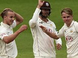 Surrey's Tom Curran (left) congratulates brother Sam (right) after taking the wicket of Northamptonshire's Maurice Chambers during day three of the LV= County Championship match at The Kia Oval, London. PRESS ASSOCIATION Photo. Picture date: Thursday September 24, 2015. See PA story CRICKET Surrey. Photo credit should read: Adam Davy/PA Wire. RESTRICTIONS: Editorial use only. No commercial use without prior written consent of the ECB. Still image use only ñ no moving images to emulate broadcast. No removing or obscuring of sponsor logos. Call +44 (0)1158 447447 for further information.
