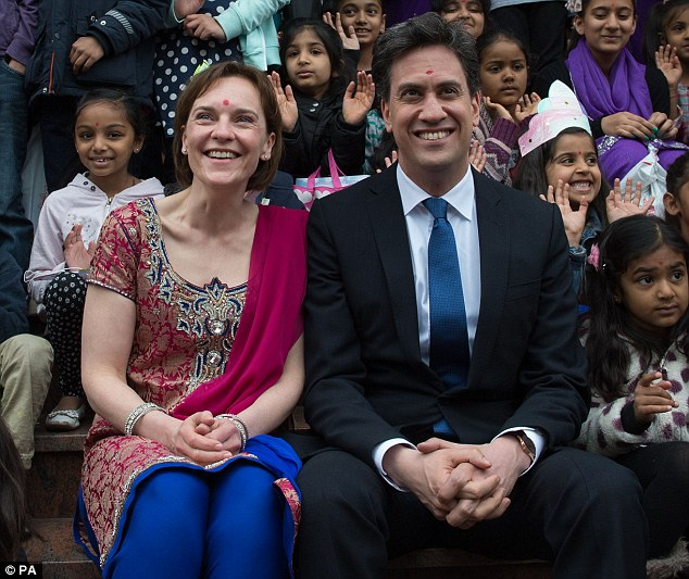 Labour leader Ed Miliband and his wife Justine meet Hindu devotees at the Shree Swaminarayan Temple in Willesden Green, London today