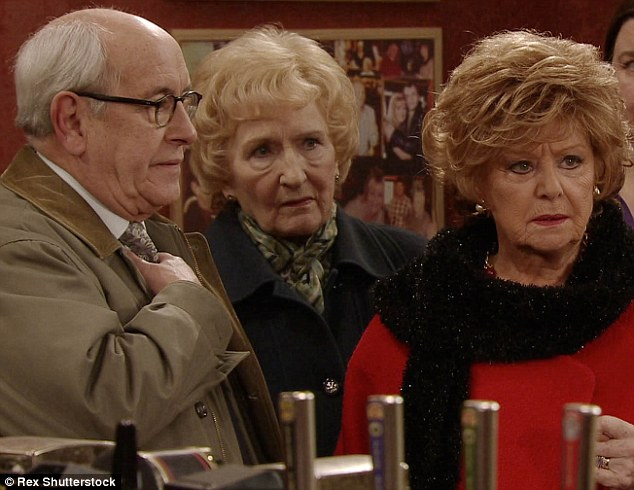 Not a good sign:Coronation Street's Barbara Knox (right) - who plays Rita Sullivan - was reportedly forced to pull out of a crucial live show rehearsal due to an unspecified illness on Sunday ahead of the special screening on Wednesday