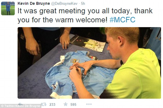 Last season's Bundesliga Player of the Year took to Twitter to thank the City fans for their support