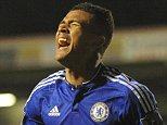 Chelsea's Kenedy celebrates after scoring against Walsall during the English League Cup Third Round soccer match between Walsall FC and Chelsea at Bescot Stadium, Walsall, England, Wednesday, Sept. 23, 2015. (AP Photo/Rui Vieira)