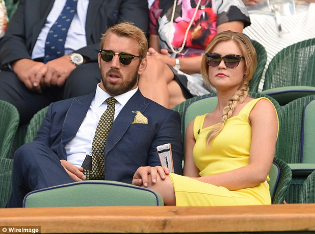 Robshaw and Kerslake watch a match at Wimbledon earlier this year