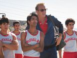 McFARLAND, USA L to R: Jose Cardenas (Johnny Ortiz), Danny Diaz (Ramiro Rodriguez), Thomas Valles (Carlos Pratts), Victor Puentes (Sergio Avelar), Damacio Diaz (Michael Aguero), Coach Jim White (Kevin Costner), Johnny Sameniego (Hector Duran) and David Diaz (Rafael Martinez) Ph: Ron Phillips ©Disney 2015