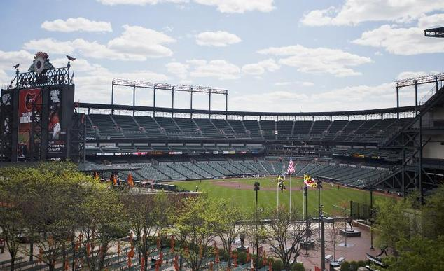 The Baltimore Orioles play the Chicago White Sox in an empty stadium at Camden Yards in Baltimore on April 29, 2015