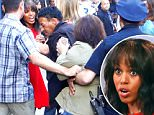 Scary moment when security and police had to restrain a fan who tried to ambush Kerry Washington when she was taking pictures with fans outside of GMA in NYC.\n\nPictured: Kerry Washington\nRef: SPL1135775  240915  \nPicture by: XactpiX/Splash\n\nSplash News and Pictures\nLos Angeles: 310-821-2666\nNew York: 212-619-2666\nLondon: 870-934-2666\nphotodesk@splashnews.com\n