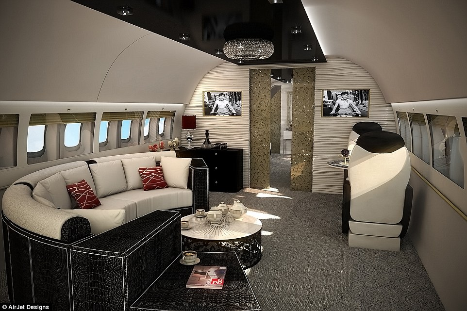 Leather upholstery, sumptuous handwoven carpets, chandeliers and gold touches are becoming standard on luxurious jets