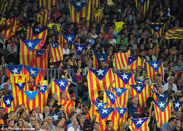 Barcelona supporters chant for independence at every home game on 17 minutes