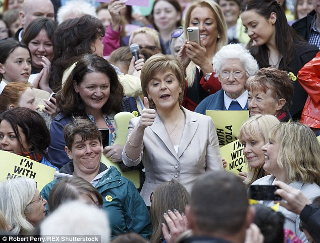 SNP leader Nicola Sturgeon speaking at a rally of female activists to launch the SNP's women's pledge today