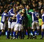 Birmingham City players celebrate victory after the Carling Cup Semi Final