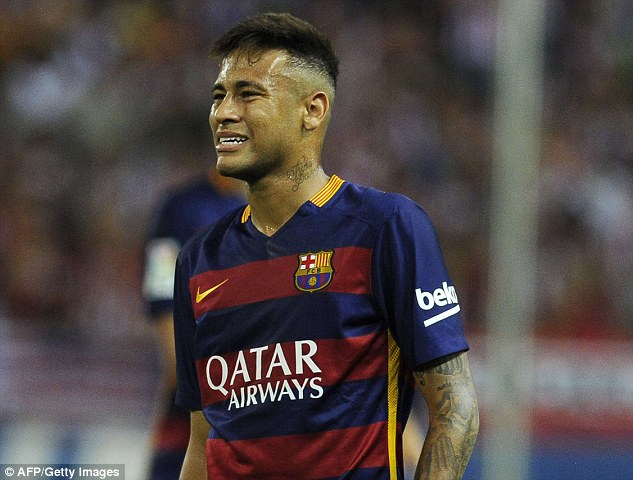 Neymar scored his first league goal of the season with a stunning free-kick against Athletico Madrid