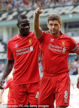 Balotelli with Gerrard on the Italian's debut at Spurs