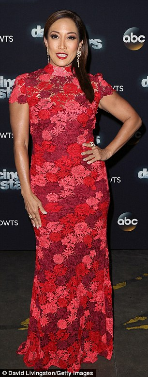 Lady in red: The two-time Emmy nominee easily defied her 47 years in a crimson Chinoiserie-style short-sleeved gown