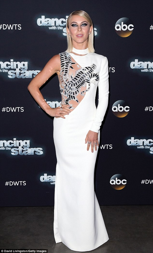 White hot! Julianne Hough dazzled in an asymmetrical gown at the photo call for Tuesday's episode of Dancing with the Stars