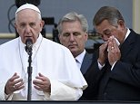 House Speaker John Boehner of Ohio becomes emotional as Pope Francis appears on the Speaker's Balcony on Capitol Hill, Thursday, Sept. 24, 2015 and addresses the waiting crowd below on the Capitol grounds. The pope addressed a joint meeting of Congress before stepping out on the balcony. Between the pope and Boehner is Majority Leader Kevin McCarthy of California. (AP Photo/Susan Walsh)