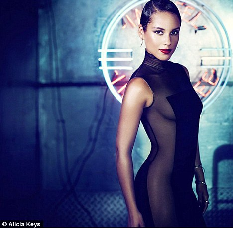 Racy: Keys released this photo earlier in the week with the name of her fifth studio album, Girl on Fire