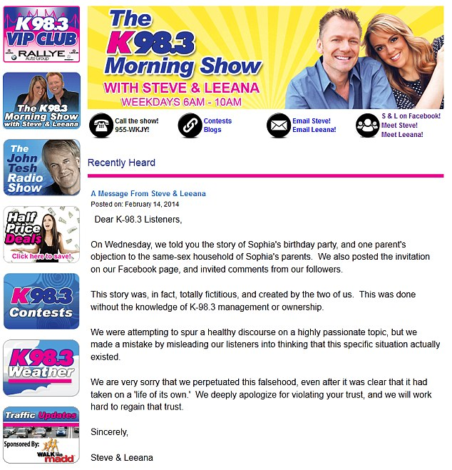 Liars: Steve and Leeana were forced to admit their story was a lie - but not before it already had been published on websites around the world