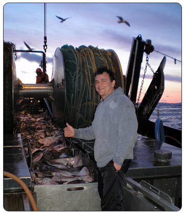 Captain Glenn Kierce with his commercial catch as the captain of the Northern Investor