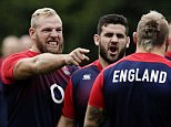 James Haskell (left), who missed out on selection for the opening match against Fiji, points at Joe Marler