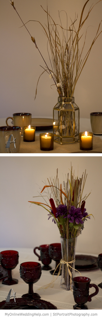 Rustic centerpieces made from ornamental grass and cat tails