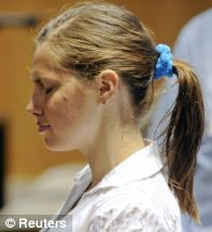 Knox, pictured just before giving evidence at her initial trial, was found guilty in December 2009