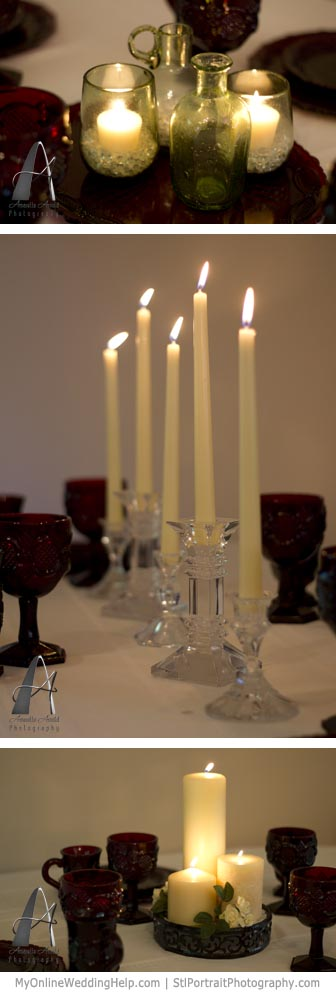 Examples of pillar, votive, and taper candle centerpieces