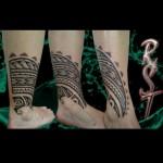 tatouage tribal polynésien cheville