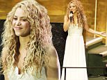 Shakira performs at the start of the 2015 Sustainable Development Summit, Friday, Sept. 25, 2015 at United Nations headquarters. (AP Photo/Seth Wenig)