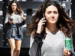 142872, EXCLUSIVE: Emmy Rossum drinks a La Croix sparkling water while on break from filming the TV show 'Shameless' in LA. Los Angeles - Wednesday September 24, 2015. Photograph: Miguel Aguilar, © PacificCoastNews. Los Angeles Office: +1 310.822.0419 sales@pacificcoastnews.com FEE MUST BE AGREED PRIOR TO USAGE