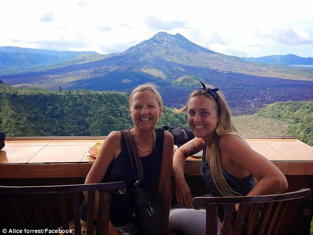 Alice Forrest (right) and her mother Nicolee Woods, but they had only been in Nepal for two weeks on that fateful day – April 25 – and they found themselves stranded in a disaster zone