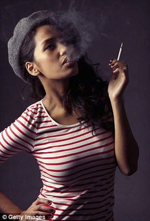 Cool again? A fashion model poses with an e-cigarette, which have now been banned from a string of pubs, restaurants, coffee chains and hotels