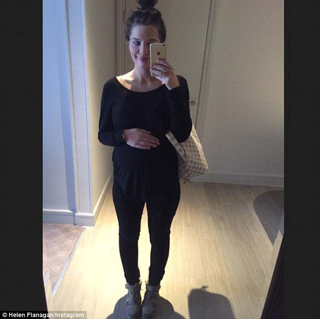 Busy day: Helen Flanagan was sporting a loose maternity top and leggings as she headed out to visit her physiotherapist on Wednesday