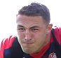BAGSHOT, ENGLAND - SEPTEMBER 24:  Sam Burgess, the England centre, pulls the weight sledge during the England training session at Pennyhill Park on September 24, 2015 in Bagshot, England.  (Photo by David Rogers/Getty Images)