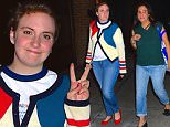 Lena Dunham was spotted out in Tribeca NYC, where she strolled with a pal near the Greenwich Hotel. She flashed a peace sign as she walked down the block wearing a colorful sweater and red flats.\n\nPictured: Lena Dunham\nRef: SPL1137115  250915  \nPicture by: 247PAPS.TV / Splash News\n\nSplash News and Pictures\nLos Angeles: 310-821-2666\nNew York: 212-619-2666\nLondon: 870-934-2666\nphotodesk@splashnews.com\n