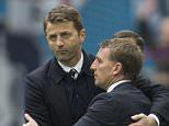 FA Cup semi final, Wembley. Aston Villa 2 v Liverpool 1 Brendan Rodgers and Tim Sherwood embrace