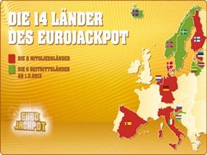 Die 14 Länder, wo man mit Eurojackpot-Gewinnzahlen gewinnen kann.