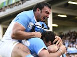 Rugby Union - Argentina v Georgia - IRB Rugby World Cup 2015 Pool C - Kingsholm, Gloucester, England - 25/9/15  Juan Imhoff celebrates with team mates after scoring the third try for Argentina  Reuters / Dylan Martinez  Livepic