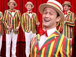 "THE TONIGHT SHOW STARRING JIMMY FALLON -- Episode 0336 -- Pictured: (l-r) A.D. Miles, Bob Martin, actor Joseph Gordon-Levitt, host Jimmy Fallon, and Chris Tartaro perform as the ""Ragtime Gals"" on September 24, 2015 -- (Photo by: Douglas Gorenstein/NBC/NBCU Photo Bank via Getty Images)"