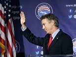 Republican presidential candidate, Sen. Rand Paul, R-Ky., acknowledges the crowd after addressing the 2016 Mackinac Republican Leadership Conference, Saturday, Sept. 19, 2015, in Mackinac Island, Mich. (AP Photo/Carlos Osorio)